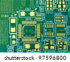Printed circuit board with no elements. Close-up Photos - stock photo