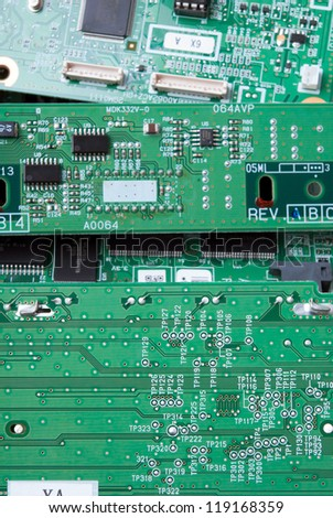 Printed-circuit boards of various electronic systems prepared for processing