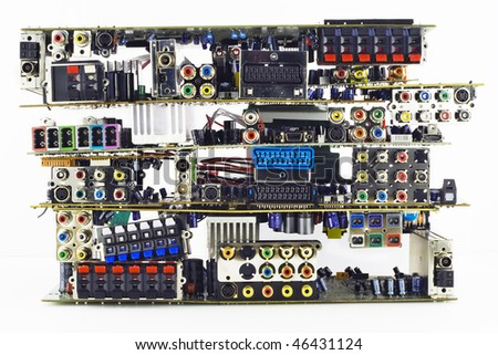 Printed-circuit boards of various electronic systems with varios electronic  elements prepared for processing. - stock photo