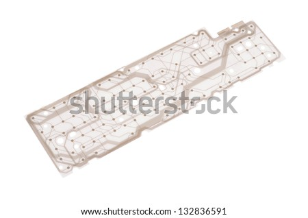 Printed Circuit isolated on white background - stock photo