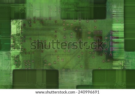 printed circuit - motherboard - stock photo