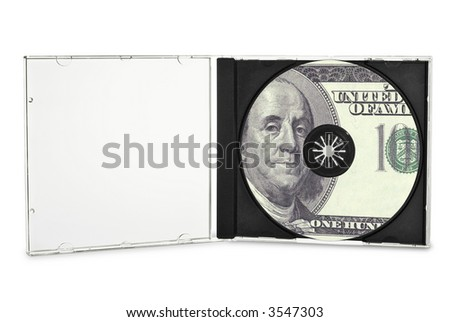 Printed compact disc in open case. (with clipping path) - stock photo