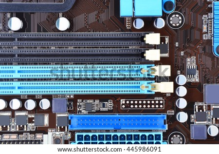 Printed computer motherboard board RAM connector slot - stock photo