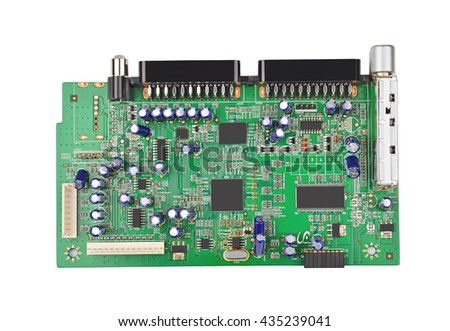 Printed green circuit board, isolated on white background - stock photo