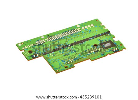 Printed green circuit board,  isolated on white background