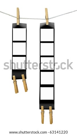 Printed medium format film strips, isolated on white background, empty frames, free picture or copy space - stock photo