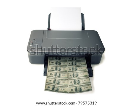 Printed money on white background