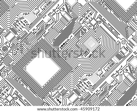 Printed monochrome industrial circuit board graphical background
