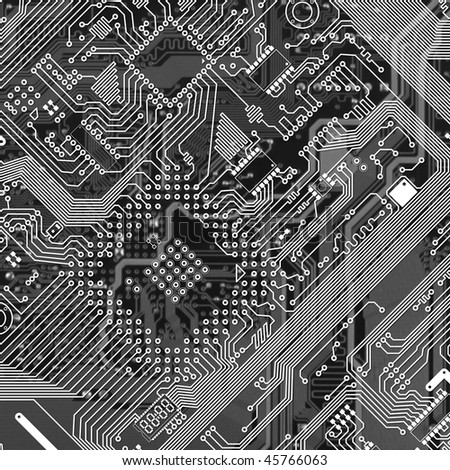 Printed monochrome industrial circuit board graphical texture
