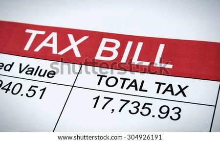 Printed Tax Bill Letter - stock photo