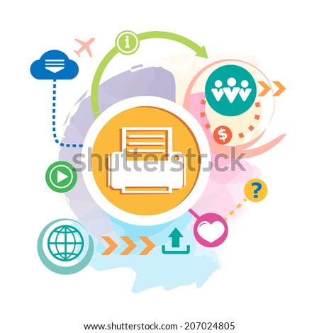 Printer and cloud on abstract background. Raster version for the print, advertising. - stock photo