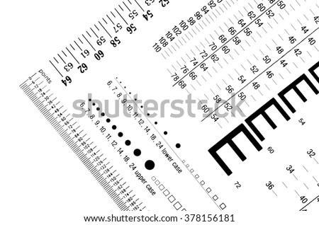 printer and designer gauge for measuring type sizes and other rulers
