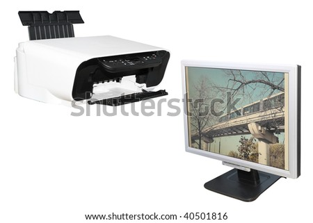 printer and monitor under the white background - stock photo