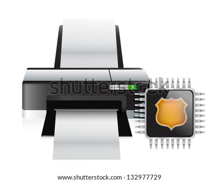 printer and storage chip illustration design over a white background