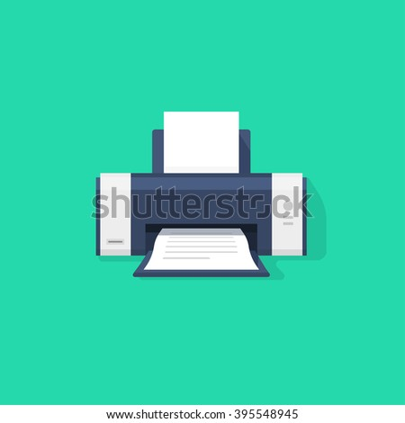 Printer flat icon with shadow, printer with paper a4 sheet and printed abstract text document out of printer machine illustration isolated on green background image - stock photo