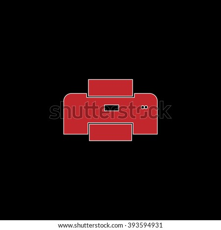 Printer. flat symbol pictogram on black background. red simple icon with white stroke - stock photo