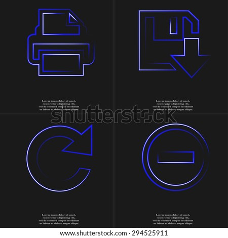 Printer, Floppy disk download, Reload, Minus icon. with effect of blue neon. illustration - stock photo