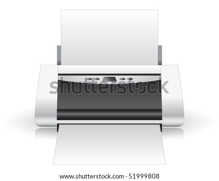 Printer gray isolated, ink-jet with paper - stock photo