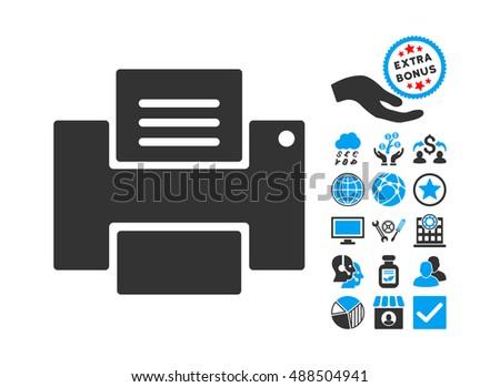 Printer Icon Bonus Symbols Glyph Illustration Stock Illustration