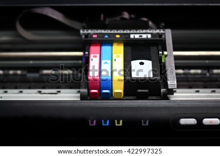 Printer in cartridges.select focus. - stock photo