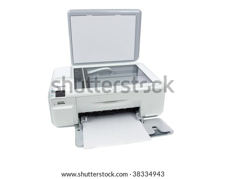 Printer isolated on white background - stock photo