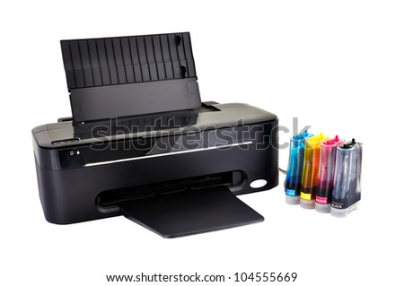 printer on a white background - stock photo