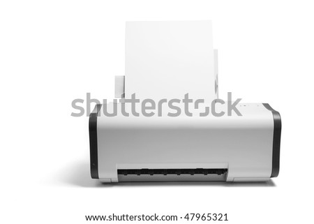 Printer on Isolated White Background - stock photo
