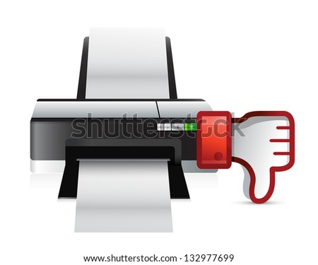 printer thumbs down dislike illustration design over white