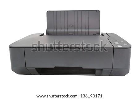 printer under the white background - stock photo