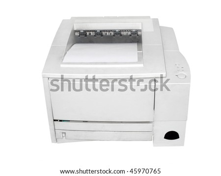 printer under the white background. Focus is under the front part of the printer - stock photo