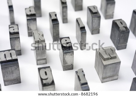 Printers blocks with alphabet. Lower case letters. - stock photo