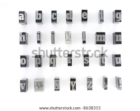 Printers blocks with english alphabet. Lower case letters. - stock photo