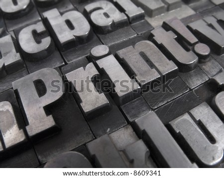 Printers blocks with the word Printing - stock photo