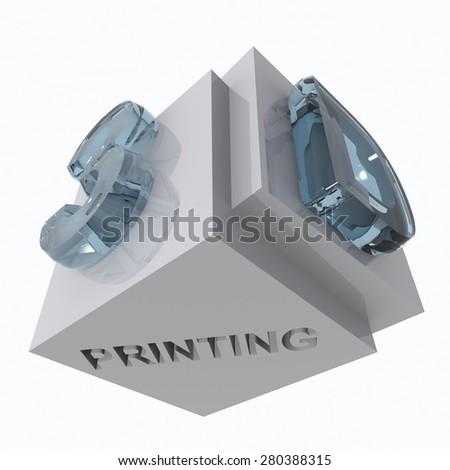 printing 3d, printer  - glass text - stock photo