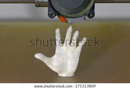 Printing Human Hand with 3D Printer - stock photo
