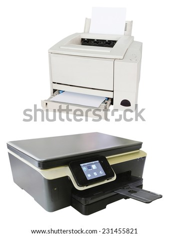 Printing machine isolated under the white background - stock photo