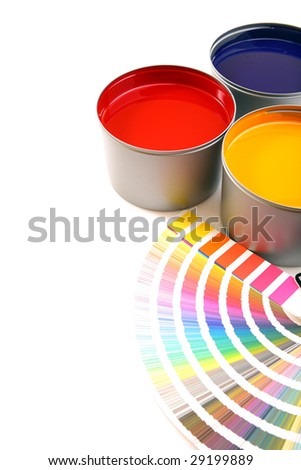 Printing press inks, cyan, magenta, yellow - stock photo