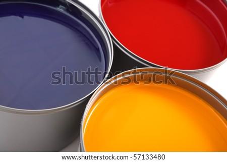 Printing press inks, cyan, magenta, yellow - stock photo