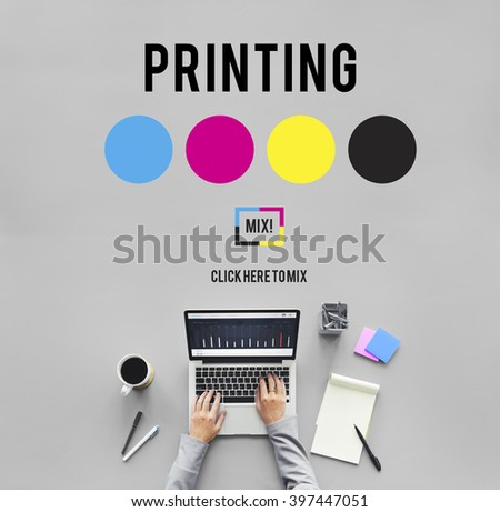 Printing Process Offset Ink Color Industry Media Concept - stock photo