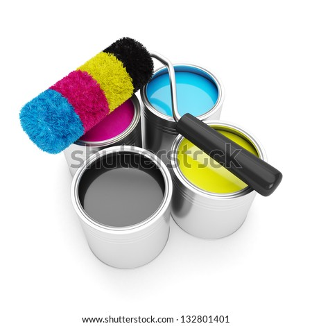 Printing technologies. CMYK colors, roller lies on the banks of paint on a white background - stock photo
