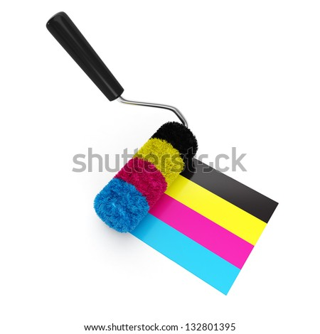 Printing technologies. CMYK colors, roller wrote on the ground on a white background - stock photo