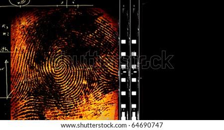 Printout of human fingerprint with unique detail - stock photo