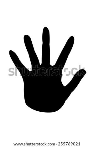Printout of human hand - stock photo