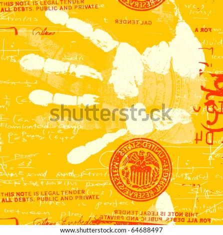 Printout of human hand with mathematics - stock photo