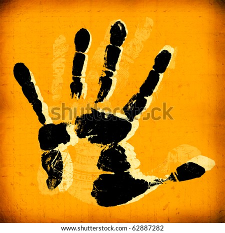 Printout of human hand with unique detail - stock photo