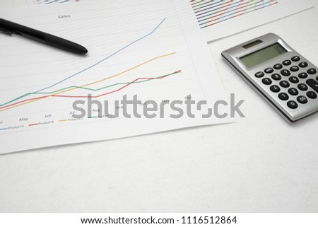printout paper graph calc pen on stock photo royalty free