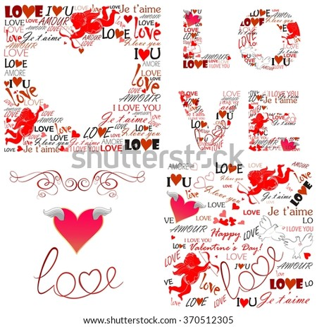 Prints with love for Valentines day - stock photo