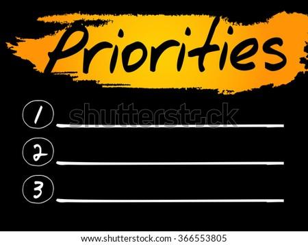 Priorities Blank List, concept background - stock photo