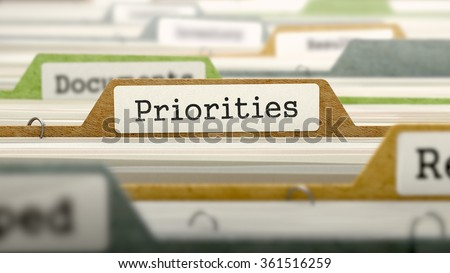 Priorities Concept on File Label in Multicolor Card Index. Closeup View. Selective Focus.  - stock photo