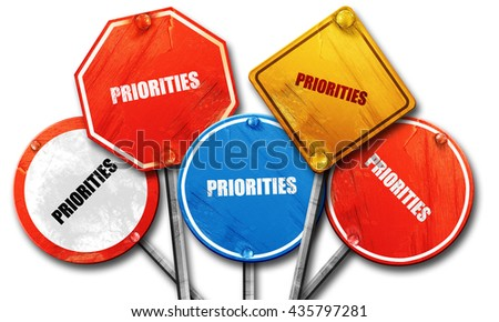 priorities, 3D rendering, rough street sign collection - stock photo